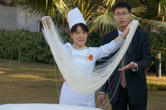 Chef showing the art of Hand Pulled Noodles in Islamabad