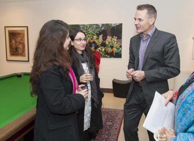 Danish Ambassador Jesper Sorensen talking to visitors and artists in Islamabad.