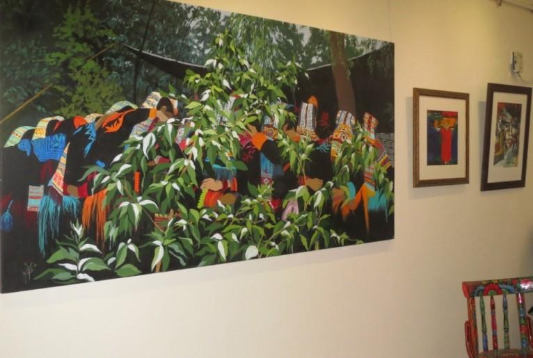 Vibrant painting by Pakistani artist, Rukhe Neelofar Zaidi