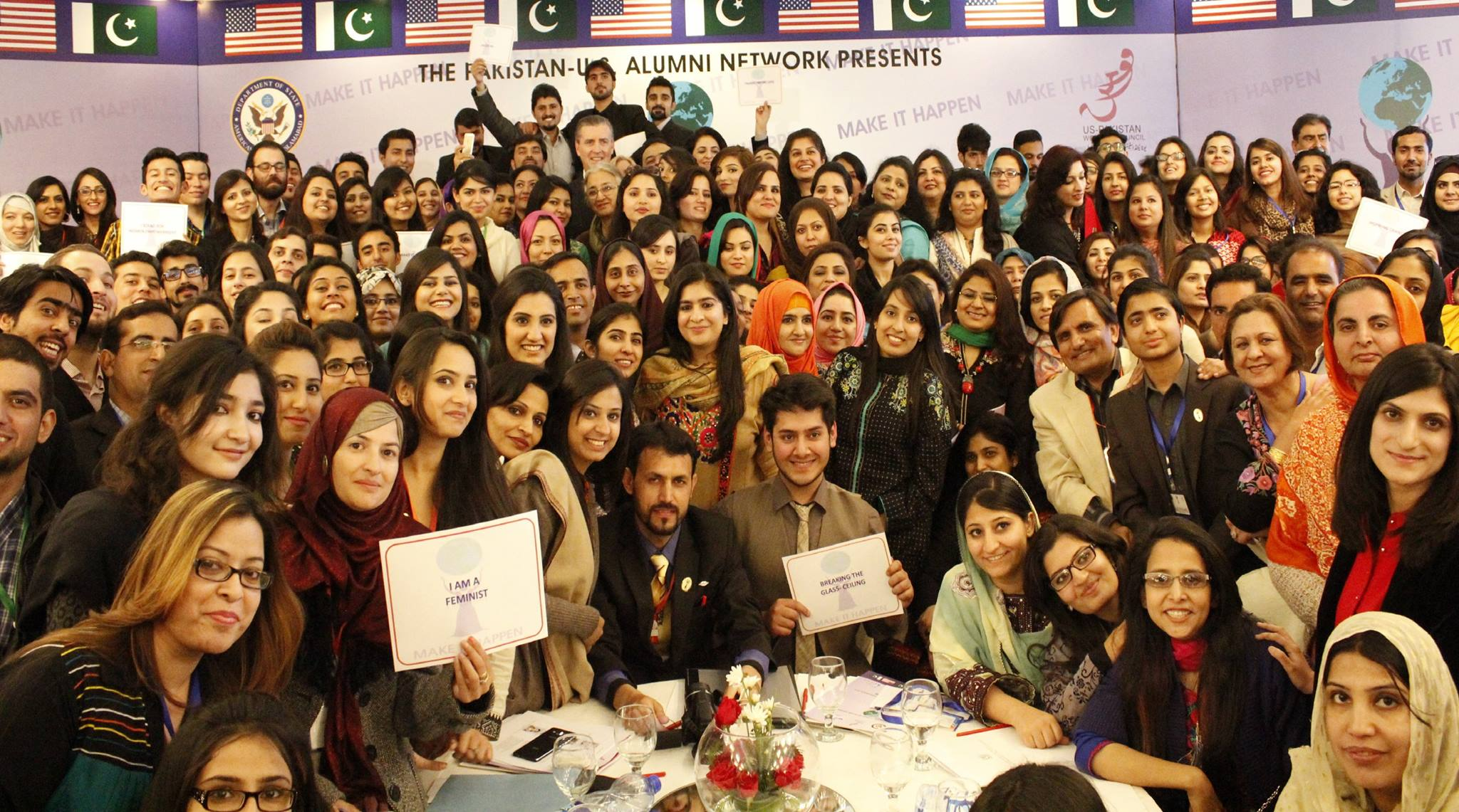 U.S. Ambassador to Pakistan, Richard Olson, with members of the Pakistan-U.S. Alumni Network at the opening ceremony of the 2015 International Women's Empowerment Conference