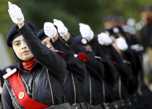 Police academy graduates march during their graduation ceremony in Islamabad. Photo: Reuters