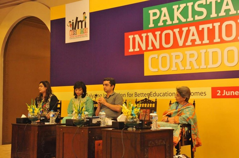 Zehra Zaidi of Ilm Ideas, Neelam Hussain of Simorgh, Isfandyar Inayat of The Citizens Foundation and Saima Alvi, Dastaras at Pakistan Innovation Corridor summit in Islamabad.