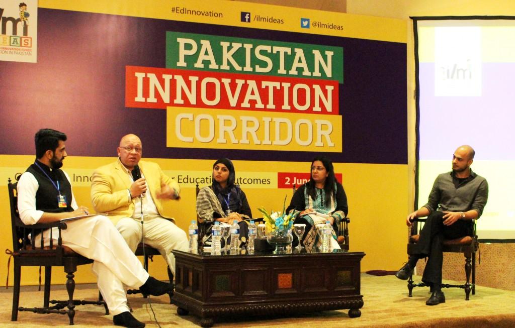 L to R: Imran Sarwar of Rabtt,  Faisal Mirza of Aman Sports, Maham Ali of Children Literature Festival, Maryam Mohiuddin of Social Innovation Lab and Qasim Aslam, The History Project at Pakistan Innovation Corridor held in Islamabad on 2 June, 2015.