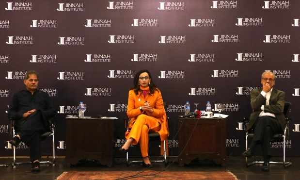 (L to R) Zafarullah Khan, head of the Centre for Civic Eduction, Sherry Rehman, President of Jinnah Institute and analyst Zahid Hussain at Pakistan: Democratic and Economic Challenges post-2015 conference held in Islamabad.