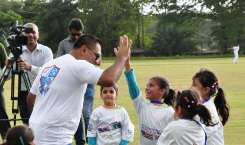 NYPD, Pakistani police, PCB and local youth groups participated in a youth cricket skills camp yesterday at Said Pur Cricket Ground on October 28, 2015.
