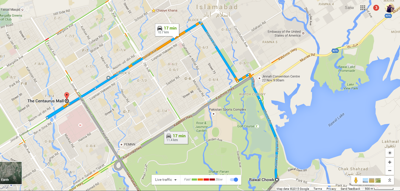 google maps in pakistan now display realtime traffic data. maps in pakistan now display realtime traffic data