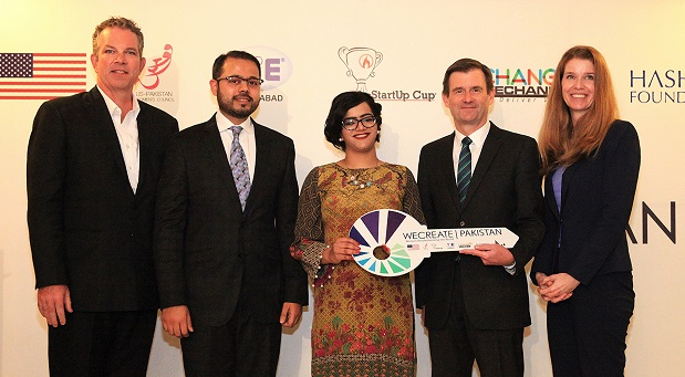 Startup Cup Founder and CEO Sean Griffin, TiE Islamabad Executive Director Murtaza Zaidi, WECREATE Manager Marva Bari, US Ambassador David Hale, and U.S. Department of State Senior Advisor for Women's Entrepreneurship and Development Tanya Hiple at the WECREATE handover ceremony.