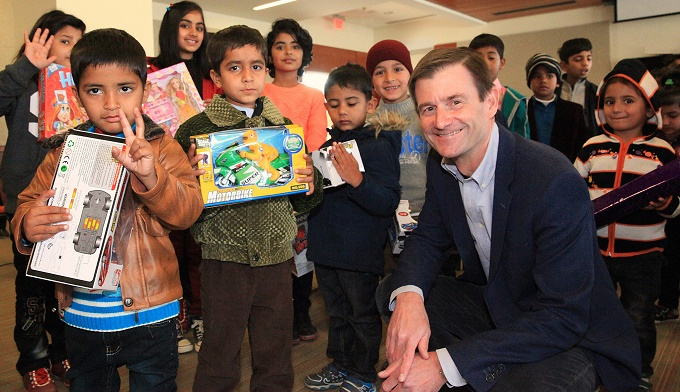 American Ambassador to Pakistan David Hale with children from SOS Children's Village Islamabad.