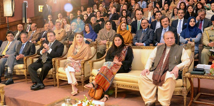 "PM Nawaz Sharif along with Ms. Sharmeen Obaid Chinoy at the screening of her documentary ""A Girl in the River: The Price of Forgiveness"" at PM Office, Islamabad on 22 Feb. 2016"