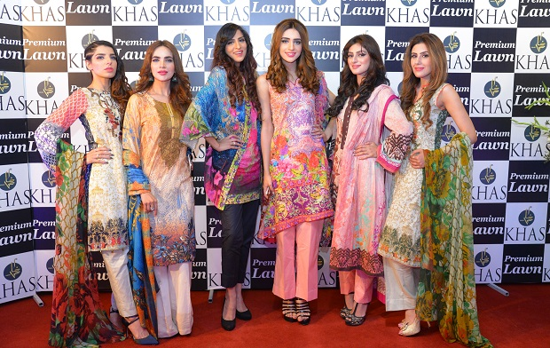 Models wearing Khas Premium Lawn 2016 at the launch in Islamabad.