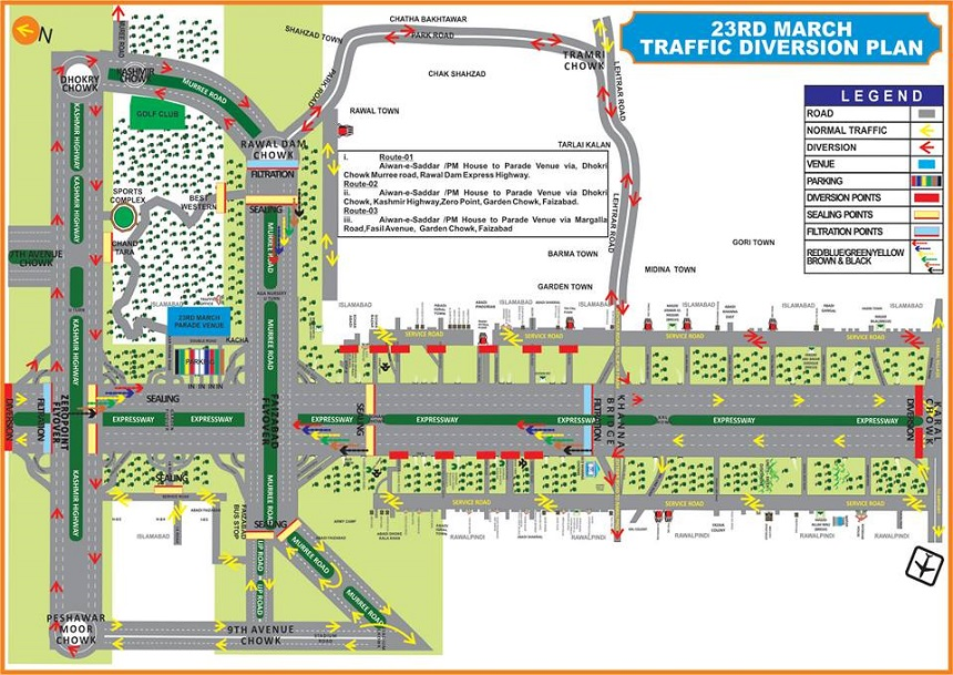 Pakistan Day 23rd March 2016 Traffic Plan