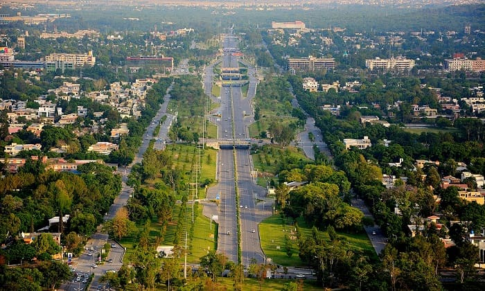 Islamabad city aerial view