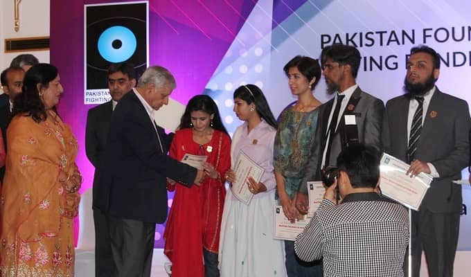 Artists awarded certificates at Foundation Fighting Blindness event in Islamabad