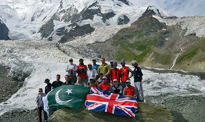 A group photograph of UK-Pakistan team who successfully completed a joint expedition in the Karakoram Mountains. Photo: APP